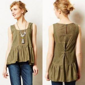 Anthropologie Meadow Rue Olive Lace Peplum Tank XS